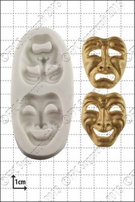 FPC - Comedy and Tragedy Masks Silicone Mould - Καλούπι Μάσκες Τραγωδίας