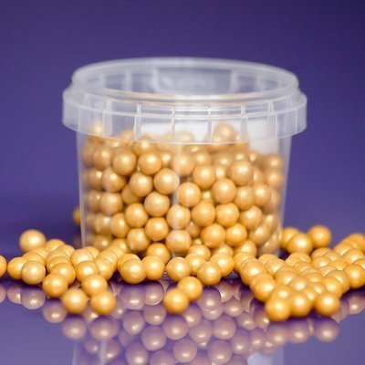 Purple Cupcakes Sugarballs -GOLD PEARL 7mm -Χρυσές Βρώσιμες Πέρλες -90γρ