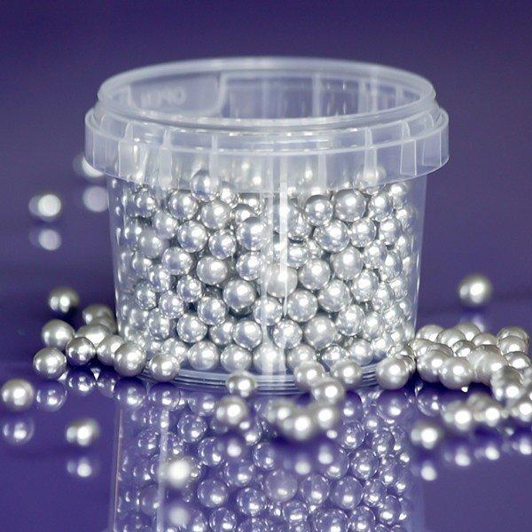 Purple Cupcakes Edible Pearls 6mm -Silver -100g