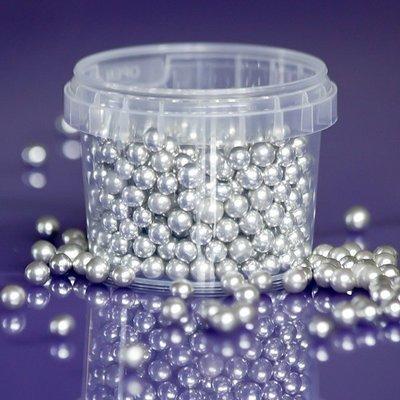 Purple Cupcakes Sugarballs -SILVER 6mm -Ασημένιες Βρώσιμες Πέρλες 100γρ-