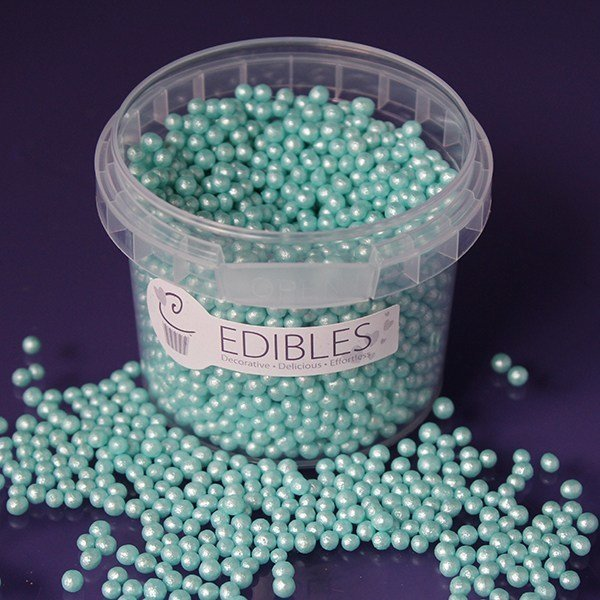 Purple Cupcakes Edible Shimmer Pearls 4mm - Seafoam- 80g