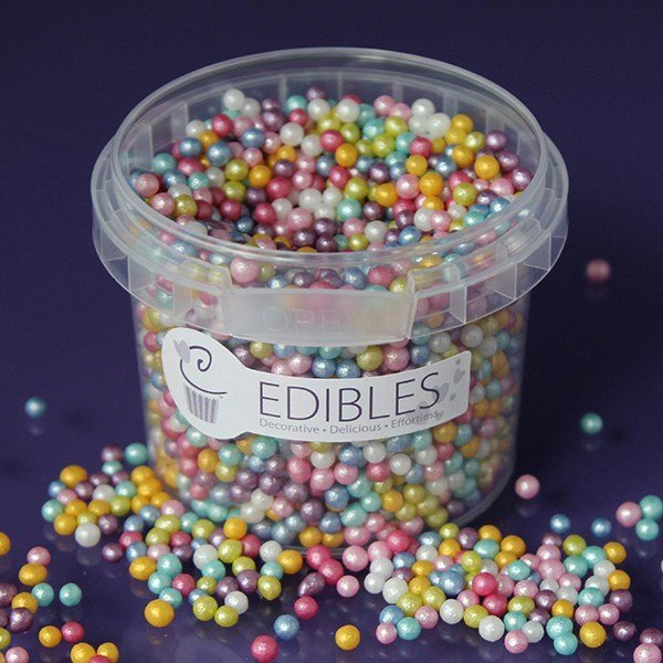 Purple Cupcakes Edible Shimmer Pearls 4mm - Multi-Coloured- 80g