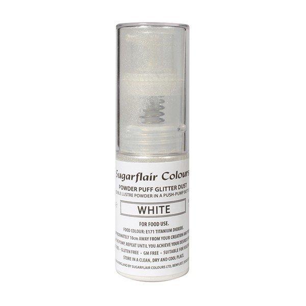 Sugarflair Powder Puff Glitter Dust Pump Spray - White 10g - Βρώσιμο γκλίτερ λευκό σε αντλία