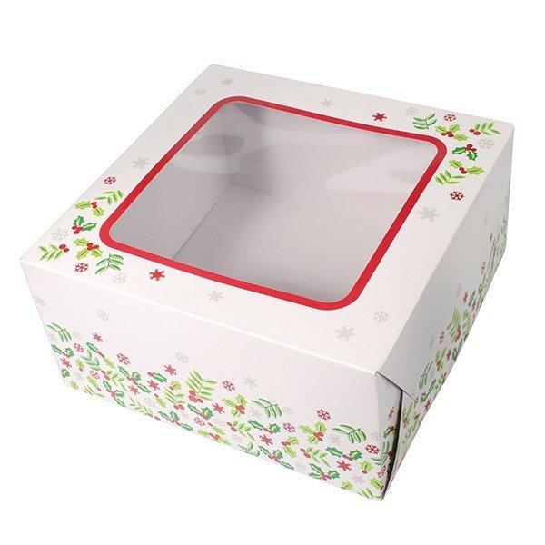"Box for Cakes - Christmas Holly 20x20cm (8"") - Τετράγωνο Κουτί για Γλυκά Χριστουγεννιάτικος Πρίνος - 20x20x10εκ"