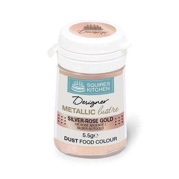 Squires -Edible Dust -Metallic Lustre SILVER ROSE GOLD 5.5g βρώσιμη σκόνη μεταλλικό λαμπερό ασημί χρυσό ροζέ