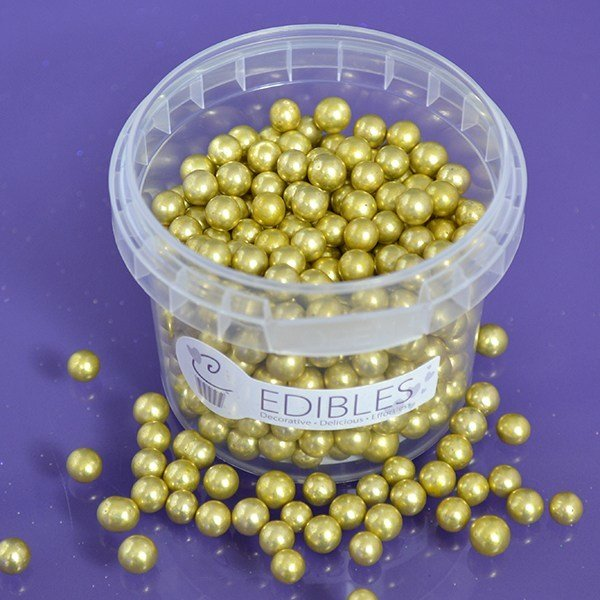 Purple Cupcakes Edible Pearls 6mm -Gold -100g
