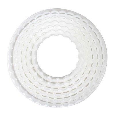 Cake Star Cutters -Set of 6 PLAIN & FLUTED -Κουπάτ Κυματιστοί Κύκλοι 6 Τεμ