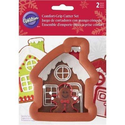 Wilton Christmas Metal Grippy Cutter -GINGERBREAD HOUSE & GINGERBREAD BOY -Κουπάτ αγοράκι και σπιτάκι μπισκότων 11εκ