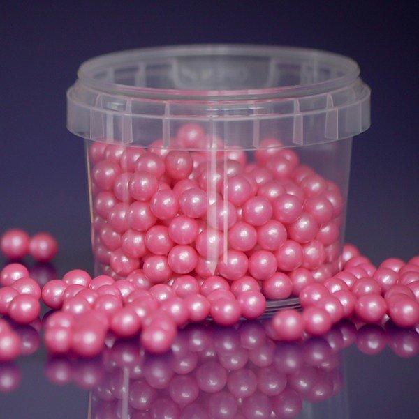 Purple Cupcakes Sugarballs -PINK PEARL 7mm -Ροζ Βρώσιμες Πέρλες 100γρ