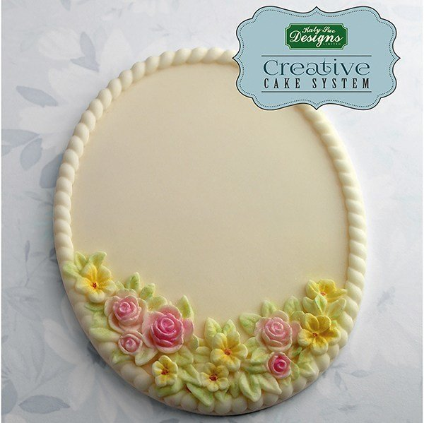 By Katy Sue -Silicone Mould by Ceri Griffiths -PETITE FLEUR OVAL PLAQUE -Καλούπι Μικρή Οβάλ Πλάκα με Λουλούδια