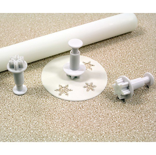 PME Plunger Cutters -Set of 3 -MINI SNOWFLAKES -Κουπάτ με Εκβολέα Μίνι Χιονονιφάδα 3 τεμ