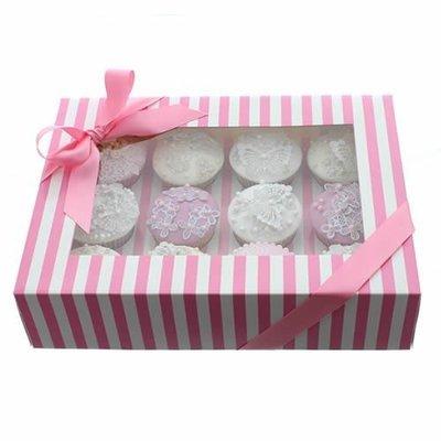 Claire Bowman Cupcake Box -PINK & WHITE STRIPE -Κουτί για 12 Cupcakes/Μuffins Ροζ & Λευκή Ρίγα