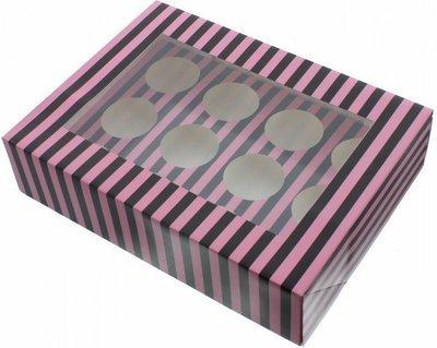Claire Bowman Cupcake Box -PINK & BLACK STRIPE -Κουτί για 12 Cupcakes/Μuffins Ροζ & Μαύρη Ρίγα