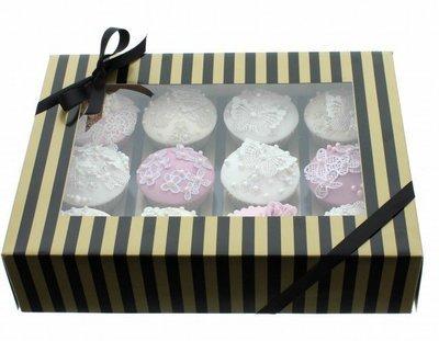 Claire Bowman Cupcake Box -GOLD & BLACK STRIPE -Κουτί για 12 Cupcakes/Μuffins Χρυσή & Μαύρη Ρίγα