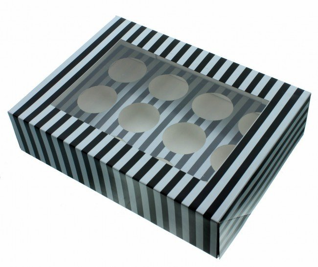 By Claire Bowman -Cupcake Box -SILVER & BLACK STRIPE -Κουτί για 12 Cupcakes/Μuffins Ασημί & Μαύρη Ρίγα