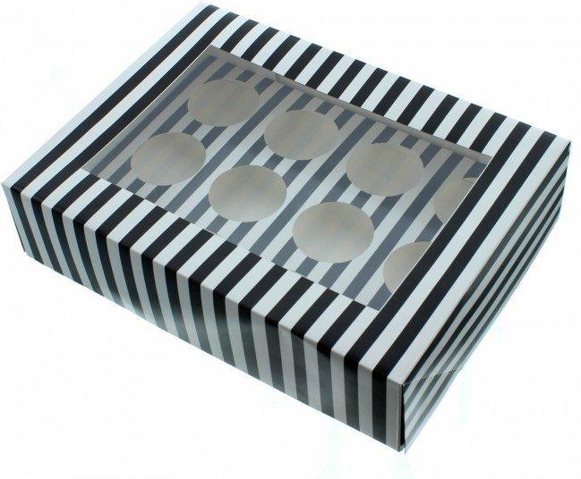 Claire Bowman Cupcake Box -WHITE & BLACK STRIPE -Κουτί για 12 Cupcakes/Μuffins Λευκή & Μαύρη Ρίγα