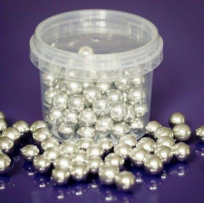 Purple Cupcakes Sugarballs -SILVER 10mm -Ασημένιες Βρώσιμες Πέρλες 100γρ