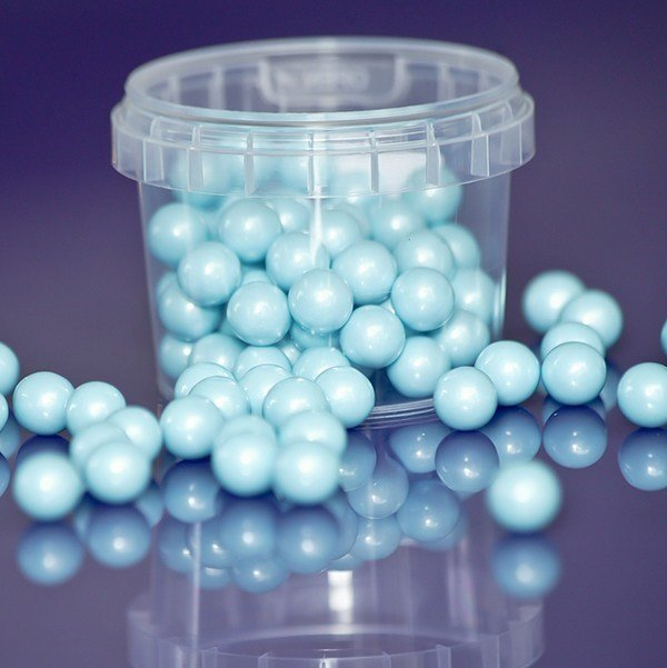 SALE!!! Purple Cupcakes Sugarballs -BLUE PEARL 10mm -Γαλάζιες Βρώσιμες Πέρλες 80γρ