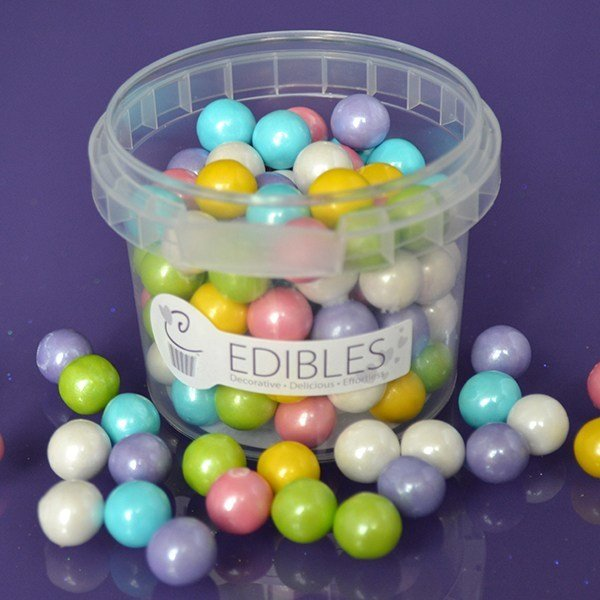 Purple Cupcakes Edible Pearls 10mm -Rainbow -80g