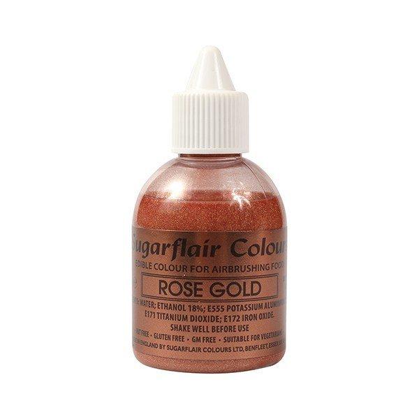 Sugarflair Airbrush Colour -METALLIC ROSE GOLD -Χρώμα Αερογράφου μεταλλικό χρυσό ροζέ