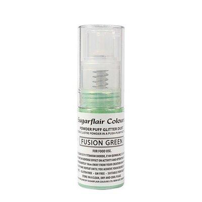 Sugarflair Powder Puff Glitter Dust Pump Spray - Fusion Green 10g - βρώσιμο σπρέι γκλίτερ έντονο πράσινο