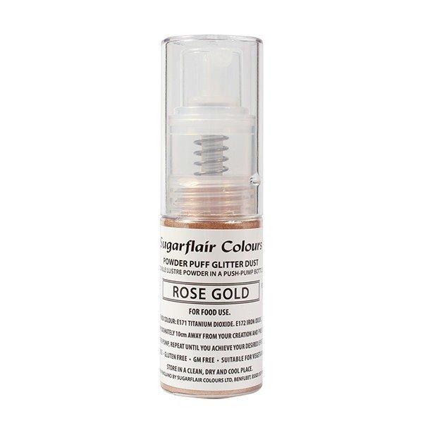 Sugarflair Powder Puff Glitter Dust Pump Spray - Rose Gold 10g Βρώσιμο γκλίτερ χρυσό ροζέ σε αντλία