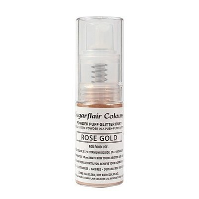 Sugarflair Powder Puff Glitter Dust Pump Spray - Rose Gold 10g βρώσιμο σπρέι γκλίτερ χρυσό ροζέ