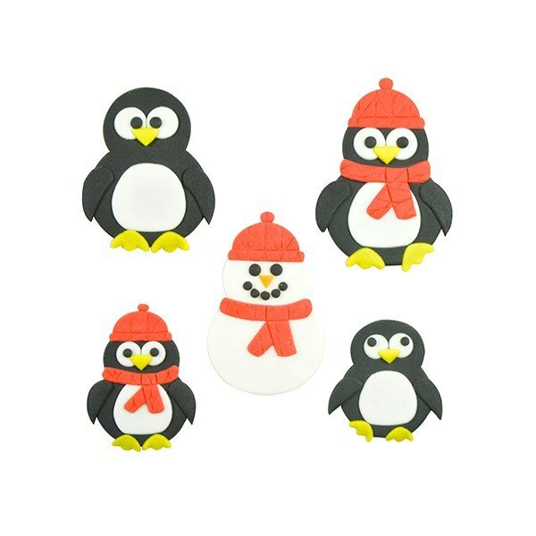 FMM Cutters -Mummy & Baby PENGUINS/SNOWMEN -Κουπάτ Πιγκουινός/Χιονάνθρωπος Μαμά & Μωράκι 2 τεμ