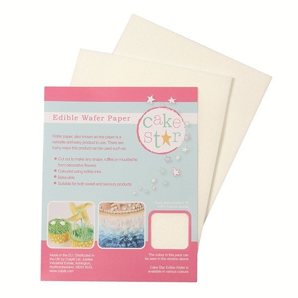 Cake Star - Wafer Paper White 12 sheets - Φύλλο Βάφλας (Ρυζόχαρτο) - 12τεμ - 178x142χιλ
