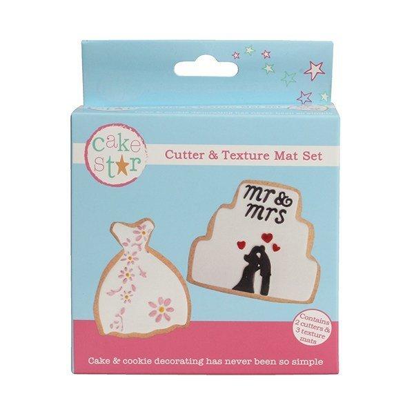 Cake Star Cutter & Texture Mat Set -WEDDING DRESS & CAKE -Κουπάτ Νυφικό & Γαμήλια Τούρτα -Σετ 3 Τεμαχίων