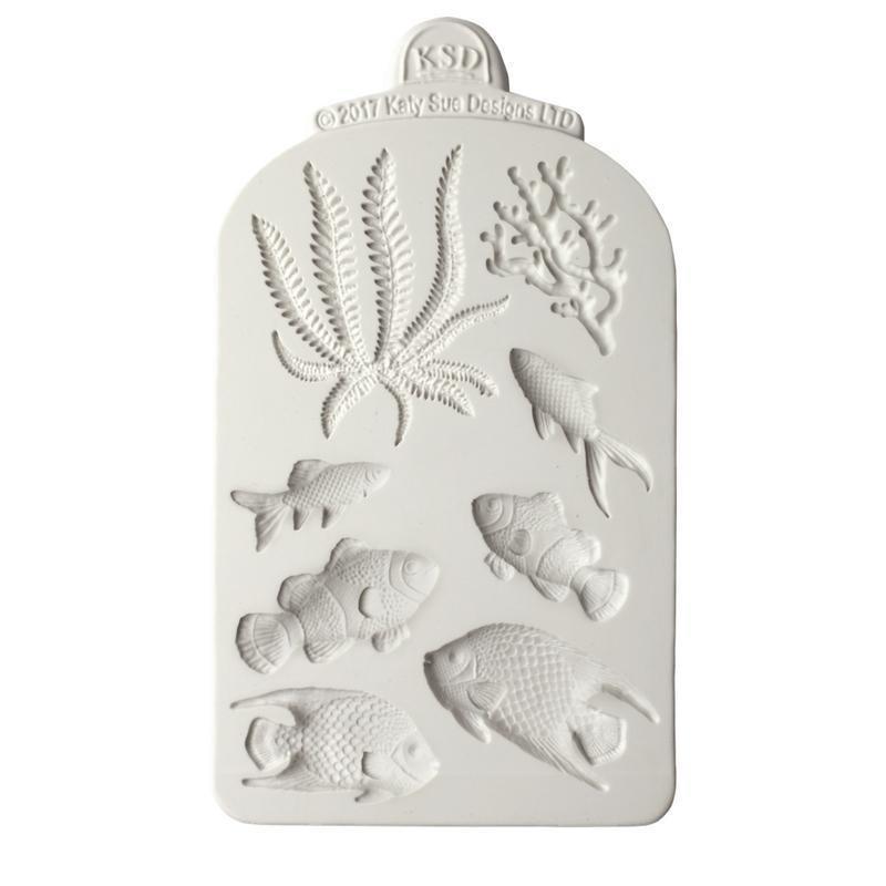 Katy Sue Silicone Mould -FISH, SEAWEED & CORAL -Καλούπι Ψάρια, Φύκι & Κοράλλι