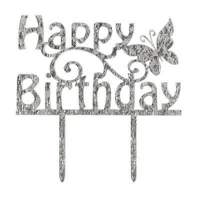 Cake Star Topper -METALLIC SILVER 'Happy Birthday' -Τόπερ Τούρτας