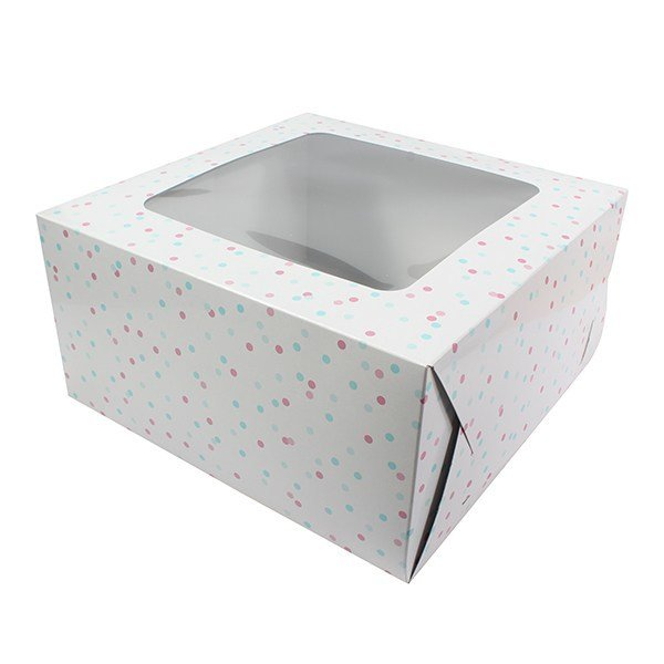 Box for Cakes 25cm PINK & BLUE SPOT -Τετράγωνο Κουτί για Γλυκά Ροζ & Μπλε Πουά 25εκ
