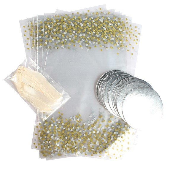 Culpitt - Printed Metallic Spot Cupcake Bags with Ribbon Ties 12pcs - Διάφανες Σακούλες με Εκτύπωση Μεταλλικές Βούλες, Κορδέλες Δεσίματος και Βάση για Cupcakes - 12τεμ/πακέτο - 225x140χιλ