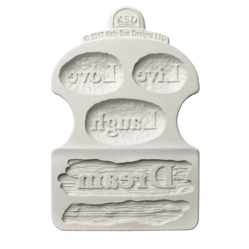 SALE!!! Katy Sue Silicone Mould -DRIFTWOOD and WORD STONES -Παλαιωμένο Ξύλο & Λέξεις σε Πέτρες