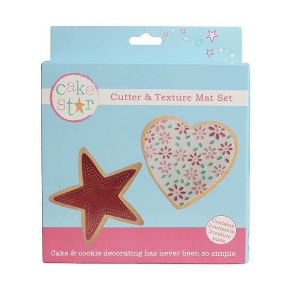 Cake Star Cutter & Texture Mat Set -HEART & STAR -Κουπάτ Καρδιά & Αστέρι -Σετ 3 Τεμαχίων