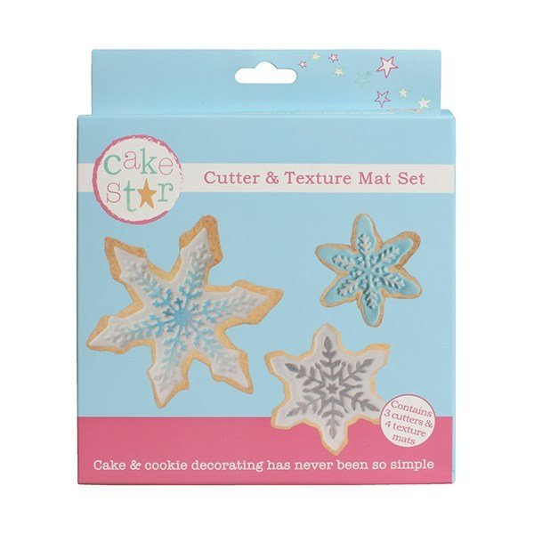 Cake Star Cutter & Texture Mat Set -SNOWFLAKES -Κουπάτ Χιονονιφάδες -Σετ 4 Τεμαχίων