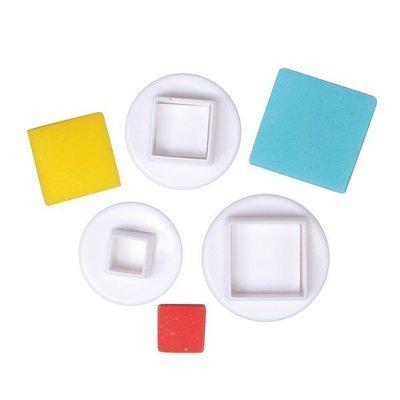 Cake Star Plunger Cutters -SQUARE -Κουπάτ Τετράγωνο με Εκβολέα 3 τεμ