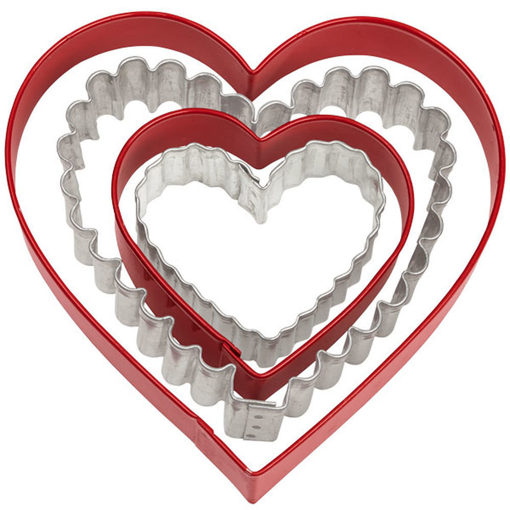 Wilton Set of 4 Smooth & Fluted Heart Cutters