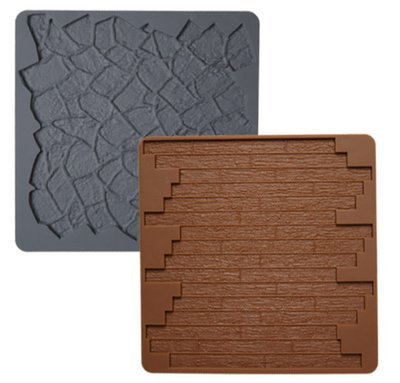 Wilton Silicone Mould -BRICK & STONE -Καλούπι σιλικόνης πέτρα και ξύλο
