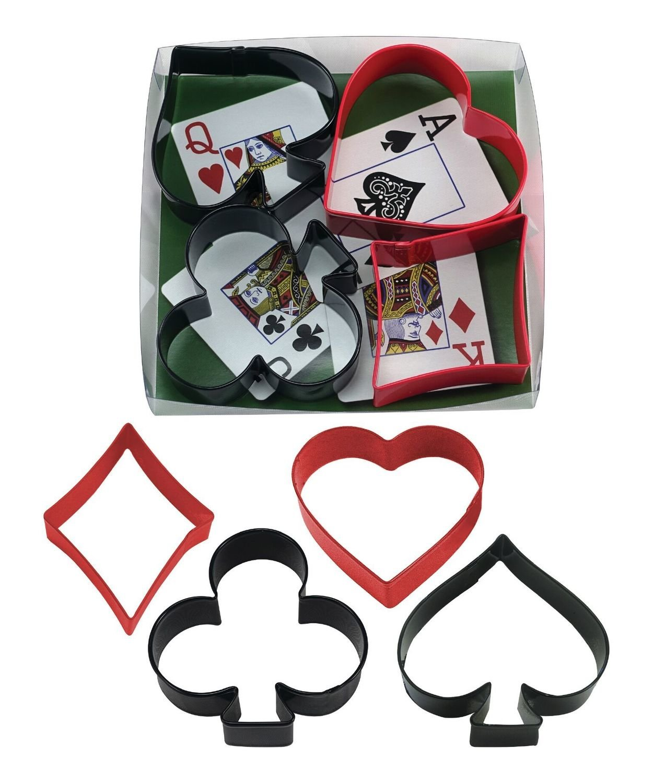by AH - Cookie Cutter Set of 4 Night, Diamond, Heart, Club, Spade - Κουπάτ Σχέδια Τραπουλόχαρτας - 13,5εκ