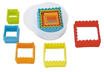 By AH -Set of Plastic Cookie Cutters -SQUARE -Plain & Fluted-Σετ Πλαστικά Τετράγωνα Κουπάτ 5 τεμ.