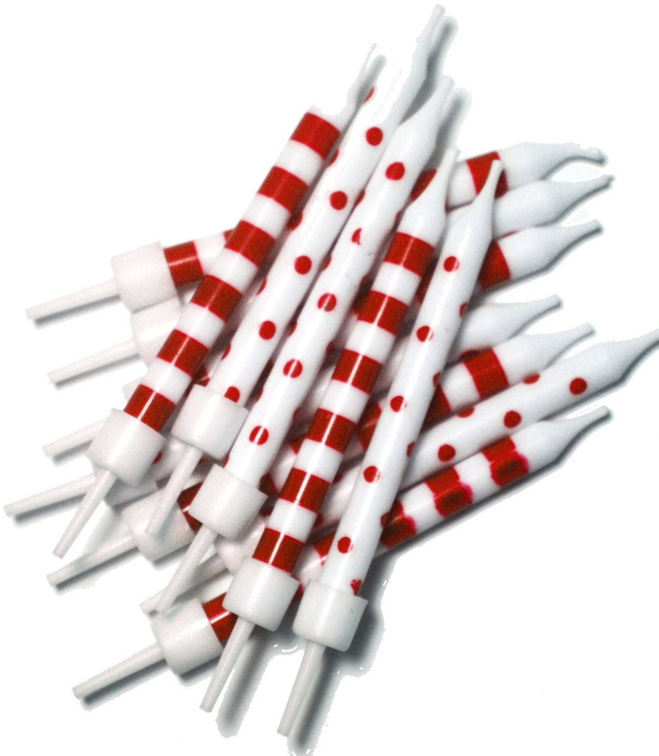 By AH - Candles - Spot & Stripe Red & White set of 12 - Κεράκια με Ρίγες & Βούλες Λευκά & Κόκκινα - 12τεμ/πακέτο - 2,5εκ