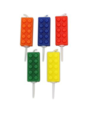 By AH -Candles set of 5 BRICKS -Κεράκια Lego Τουβλάκια 5 τεμ