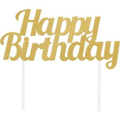 By AH -Cake Topper 'Happy Birthday' -GOLD GLITTER -Τόπερ Τούρτας Χρυσό Γκλίτερ