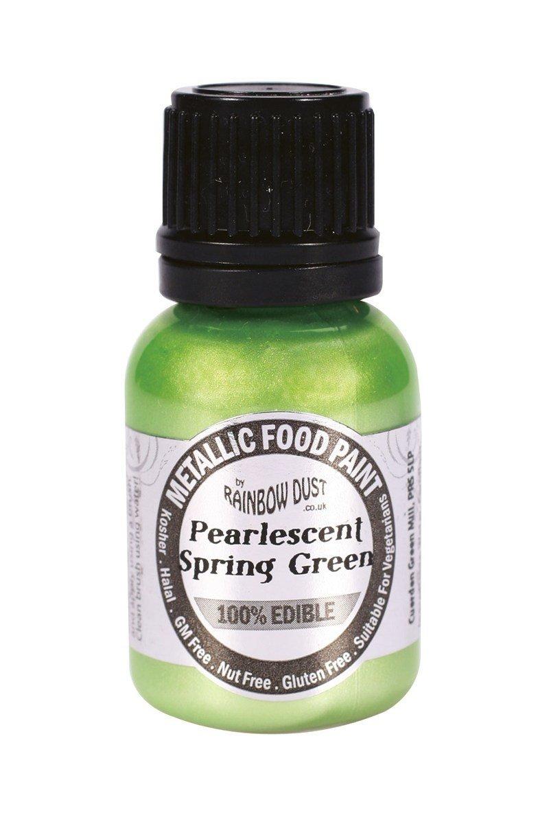 SALE!!! Rainbow Dust - Edible Metallic Food Paints Pearlescent Spring Green -Μεταλλικό Βρώσιμο Χρώμα Ζωγραφικής Περλέ Ανοιχτό Πράσινο - 25ml
