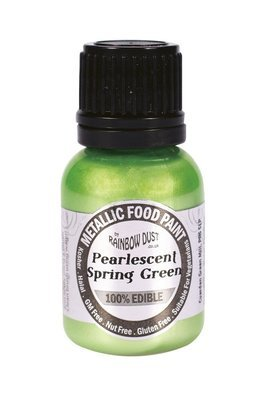 Rainbow Dust - Edible Metallic Food Paints Pearlescent Spring Green -Μεταλλικό Βρώσιμο Χρώμα Ζωγραφικής Περλέ Ανοιχτό Πράσινο - 25ml