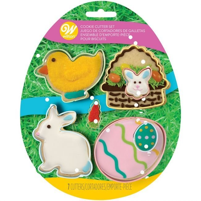 Wilton Set of 5 Easter Cutters -Chick, Bunny in a basket, Bunny & Eggs -Σετ Κουπάντ Πασχαλινά -μεταλλικά. Καλάθι, λαγός, κοτοπουλάκι, αυγά.