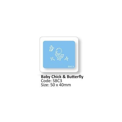 JEM Stencil -BABY CHICK & BUTTERFLY -Στένσιλ Μικρό Παπάκι με Πεταλούδα