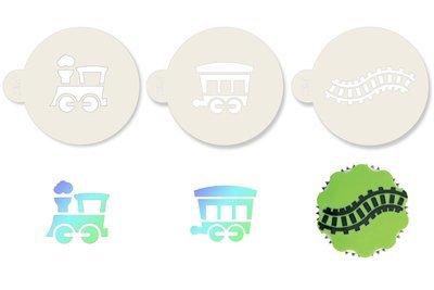 JEM Stencil -Set Of 3 TRAIN Designs -Carriage & Train Track -Στένσιλ Τραίνο Άμαξα Γραμμές Τραίνου 3 τεμ